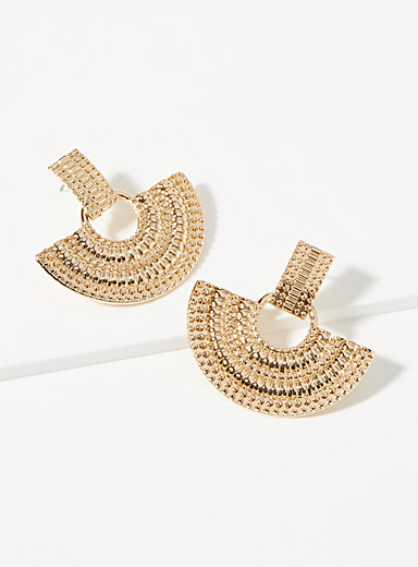 Simons Assorted Textured fan earrings for women
