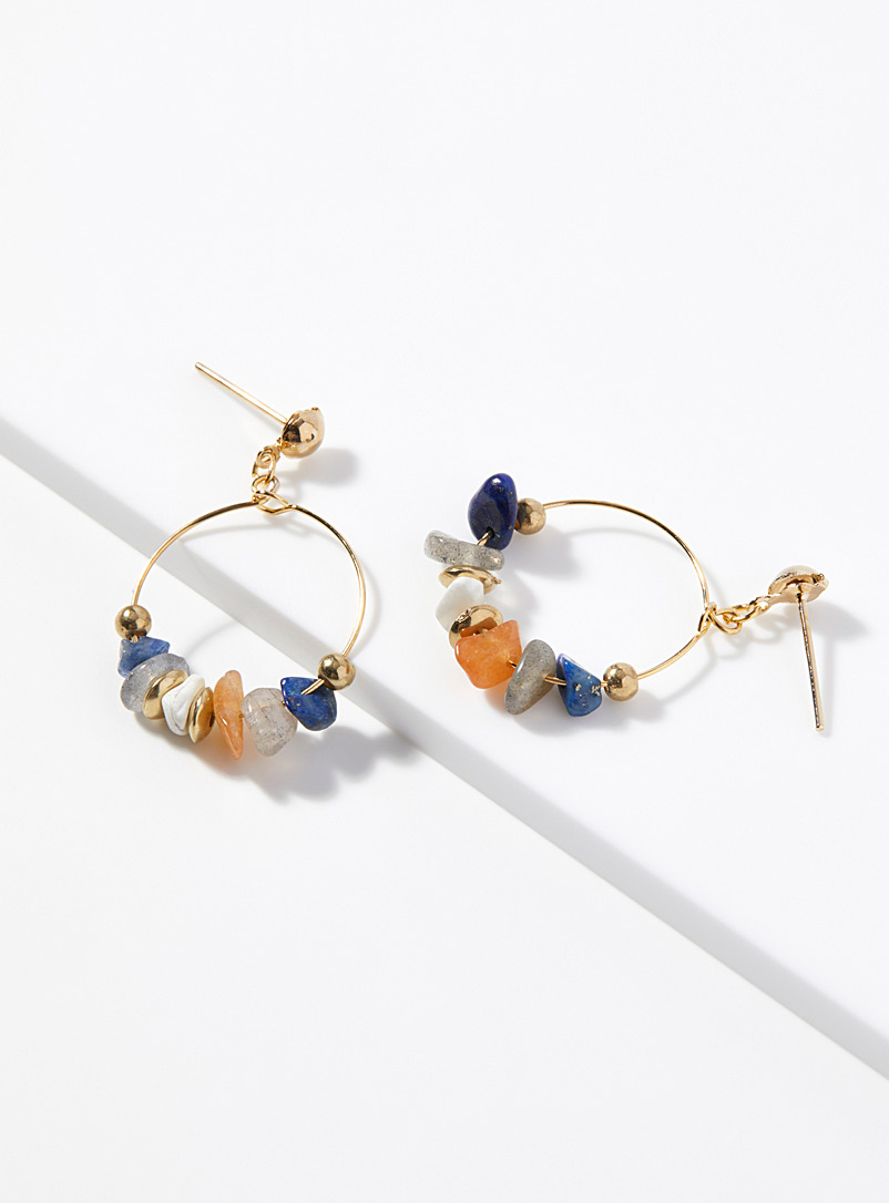 Simons Patterned Yellow Colourful stone hoops for women