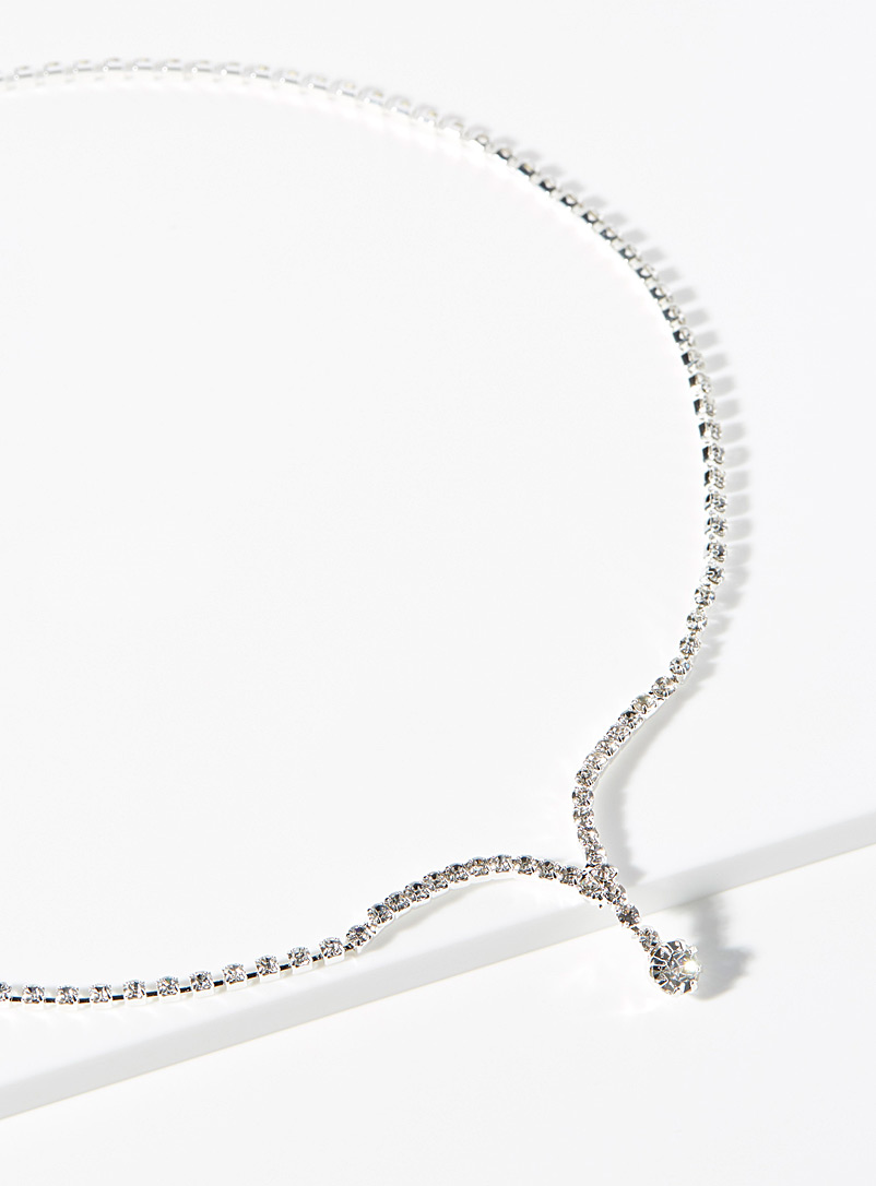 Simons Silver V-neck crystal necklace for women
