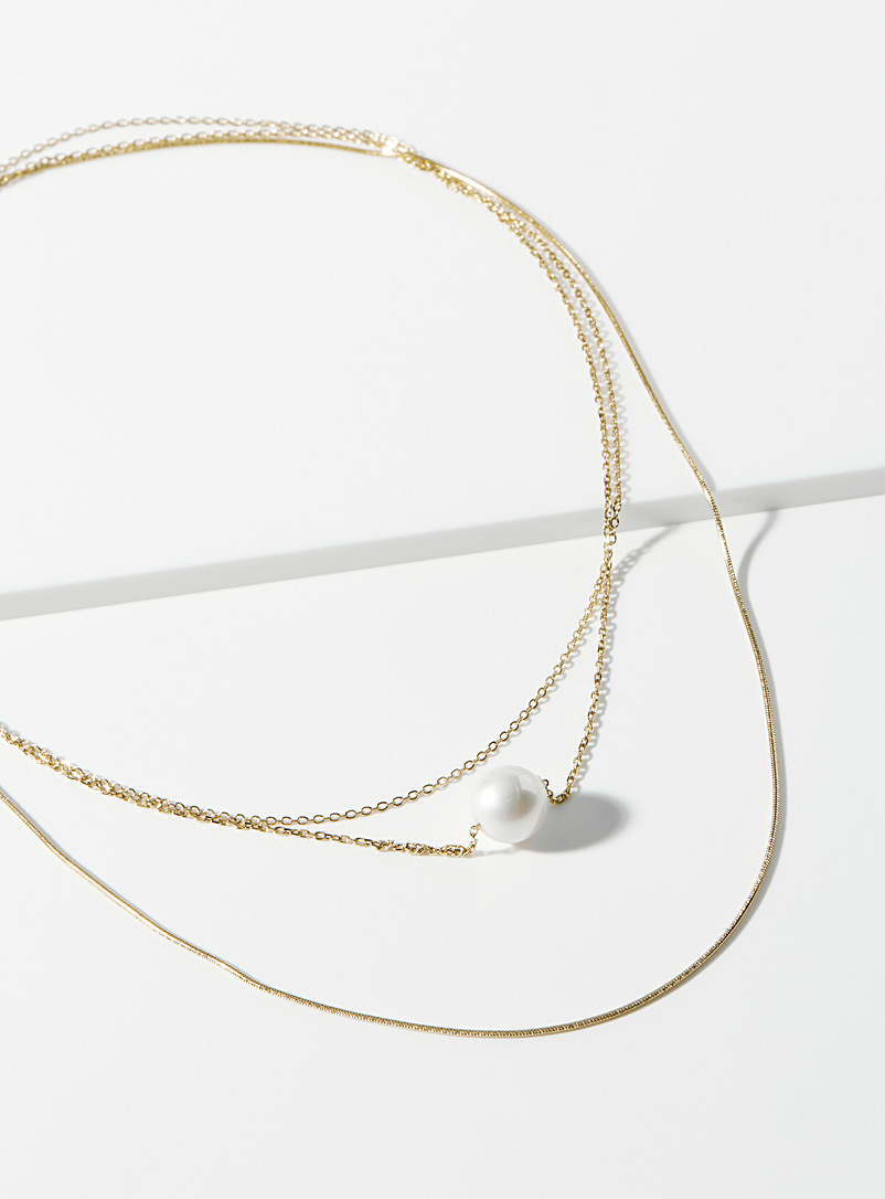 Pearly bead multi-strand necklace