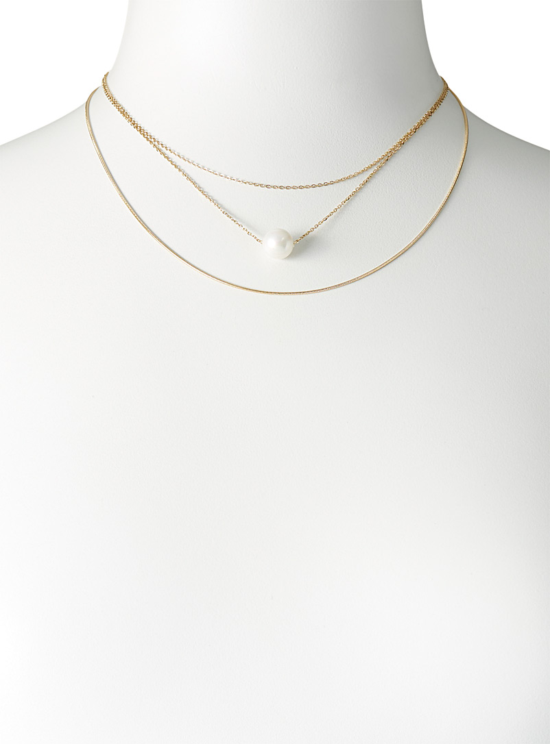 Simons Silver Pearly bead multi-strand necklace for women