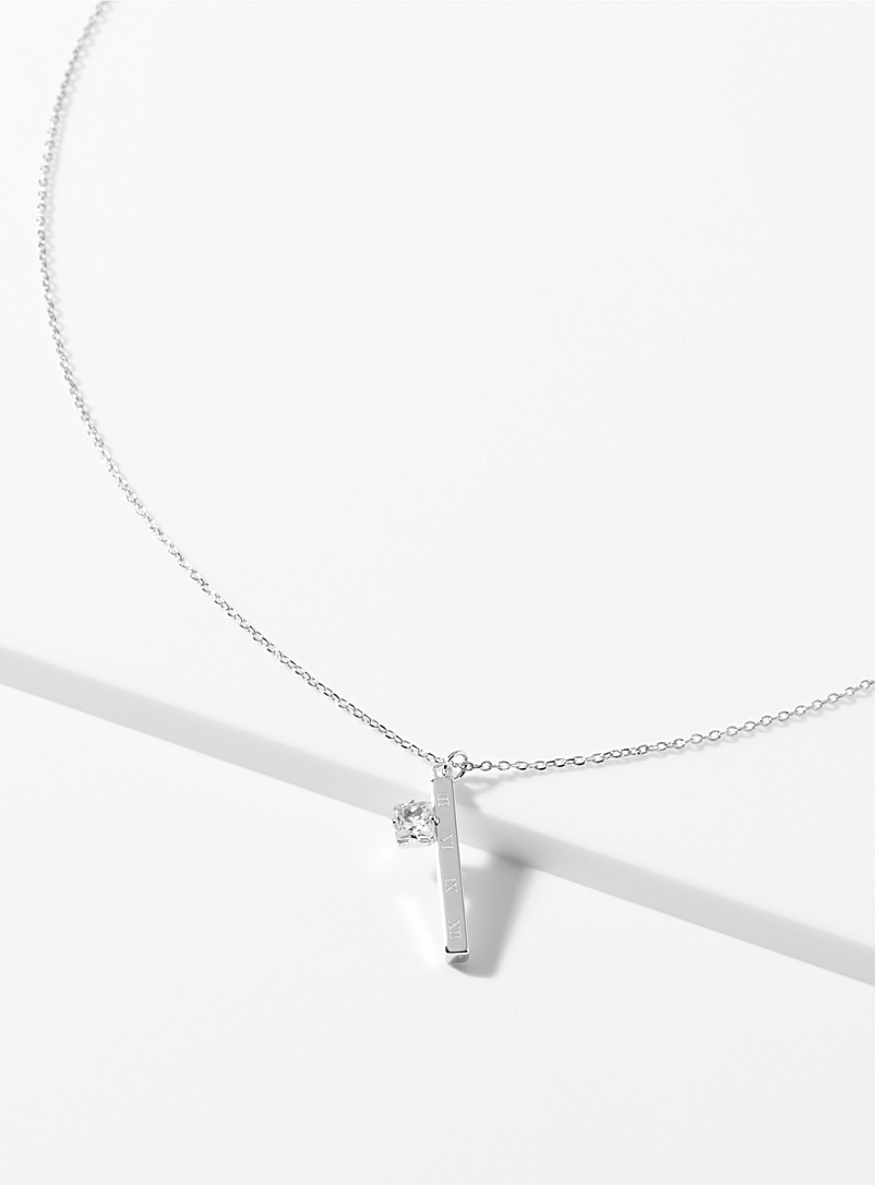 Simons Silver Crystal ingot necklace for women