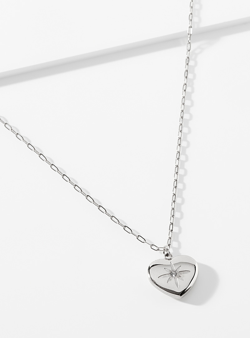 Simons Silver Starry heart necklace for women
