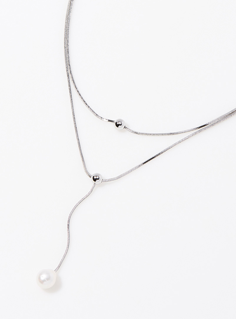 Dancing pearl multi-chain necklace - Necklaces - Silver
