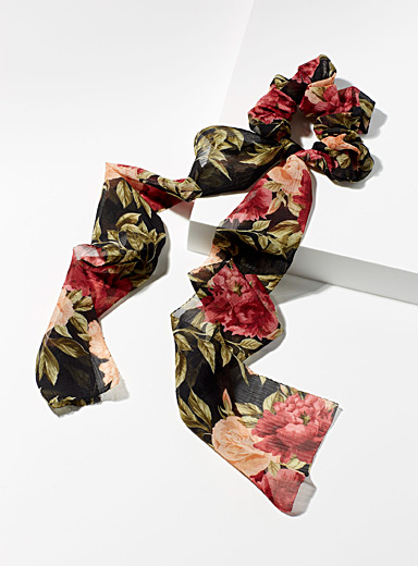 Simons Patterned Black Delicate flower scarf scrunchie for women