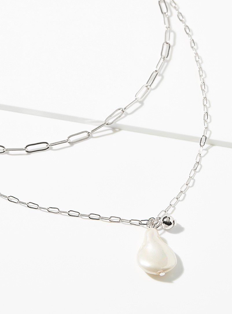 Simons Assorted silver Pearl and metal multi-strand necklace for women