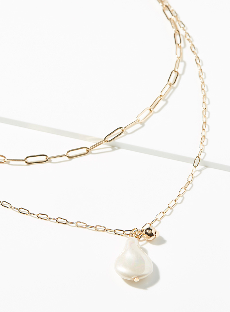 Simons Assorted Pearl and metal multi-strand necklace for women