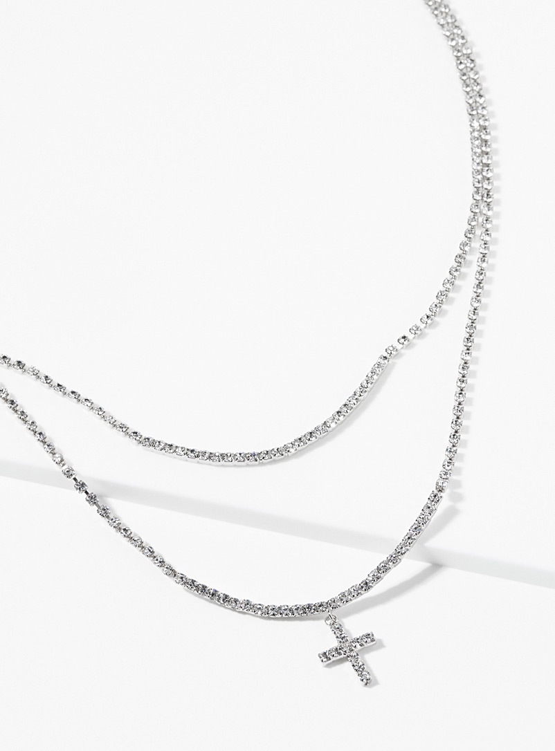 Cross pendant crystal necklace