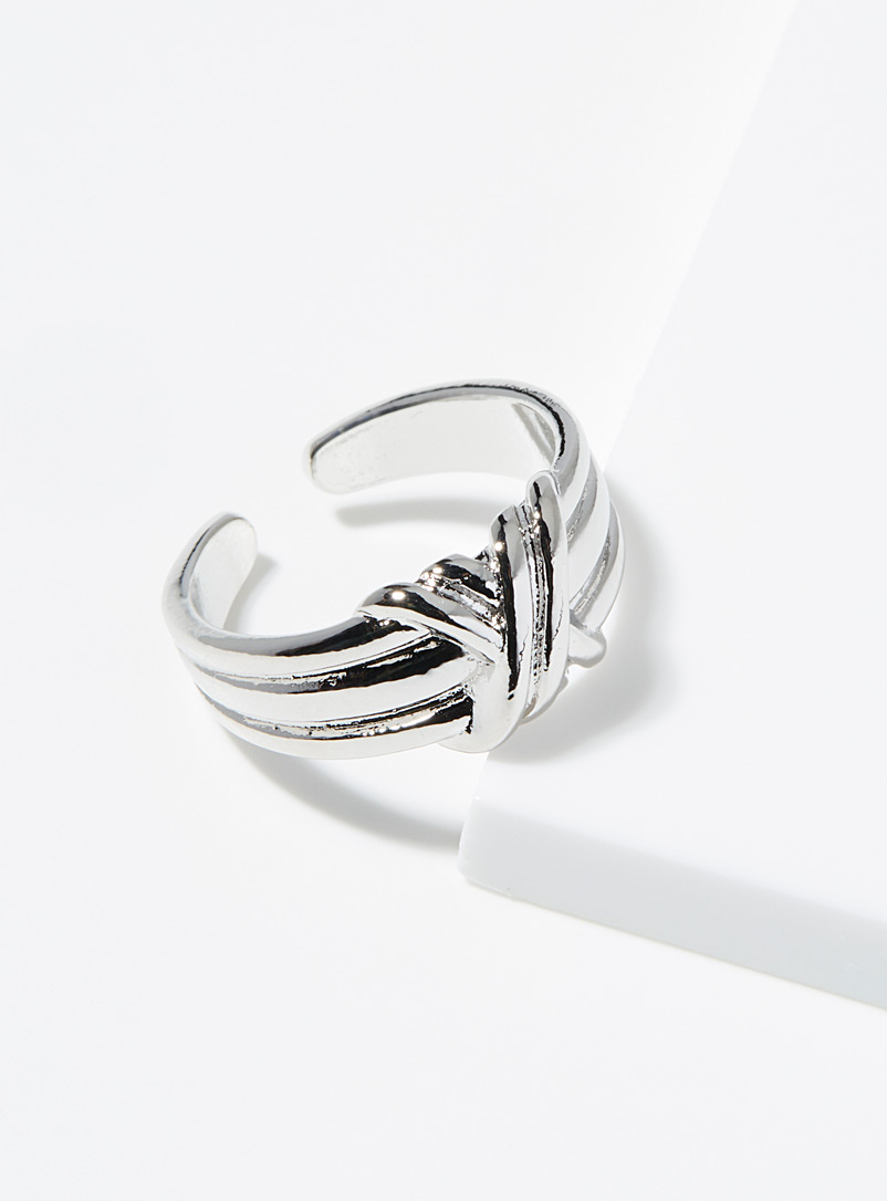 Simons Silver Knotted wide ring for women