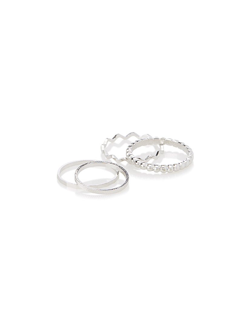 Metallic rings  Set of 4 - Rings - Silver