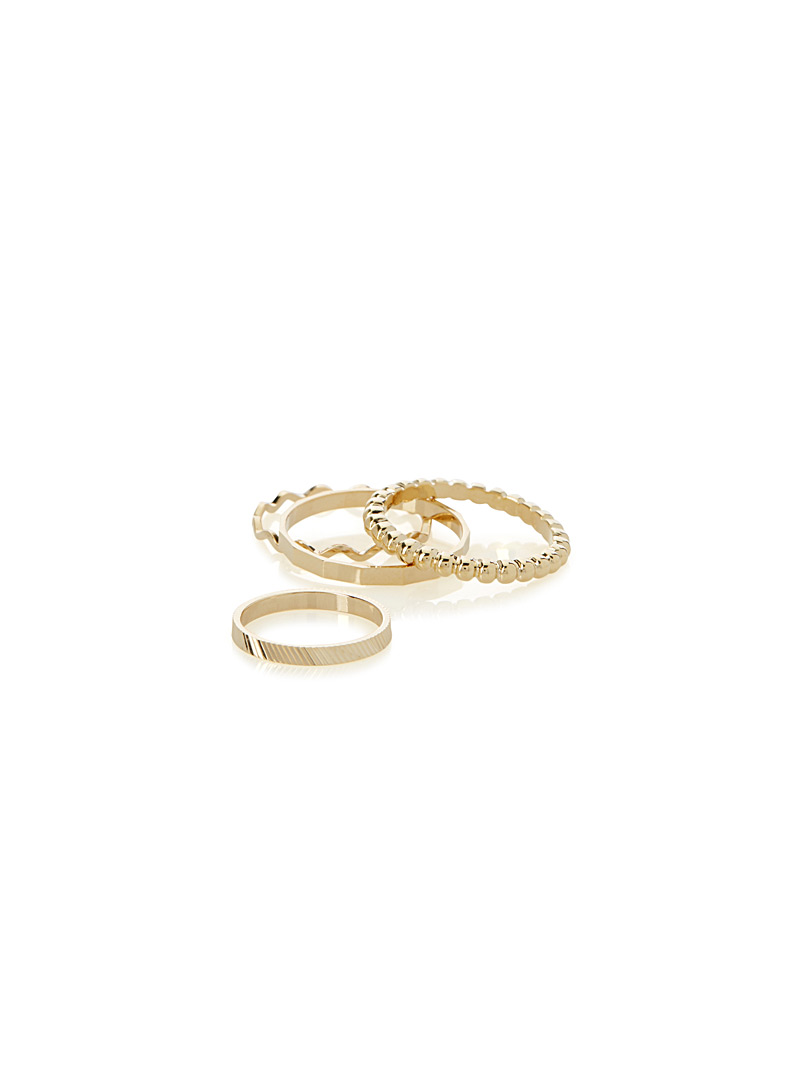 Simons Assorted Metallic rings  Set of 4 for women