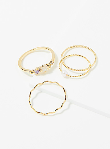 Fine textured rings  Set of 4