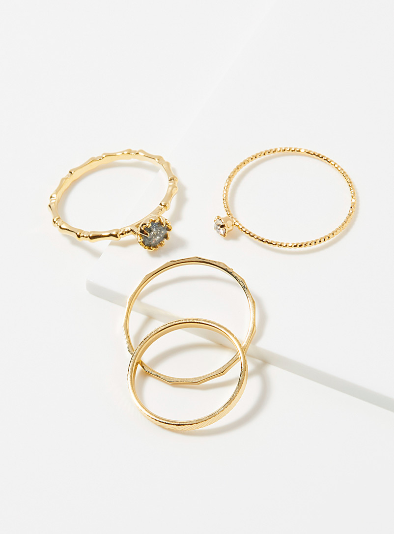 Simons Assorted gold  Fine stone rings  Set of 4 for women