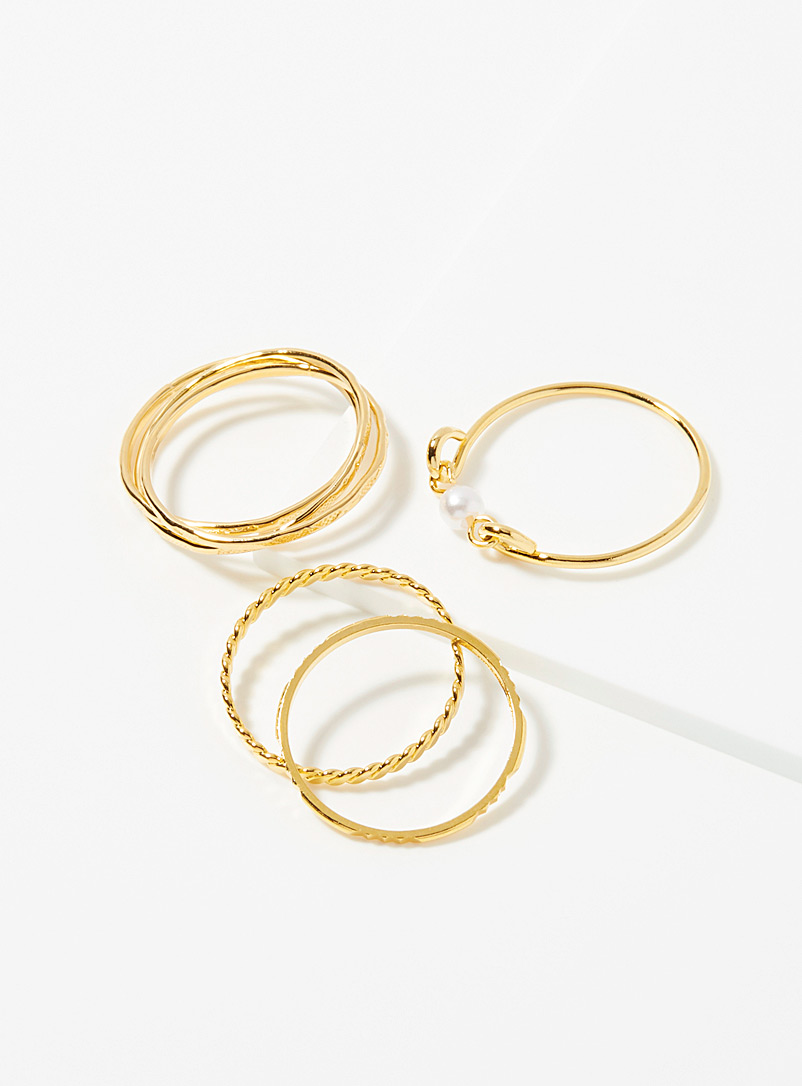 Shiny minimalist rings  Set of 6