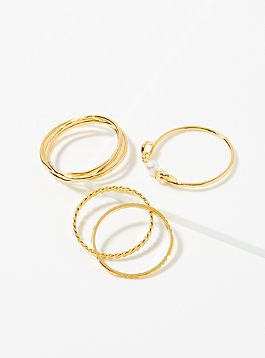 Simons Assorted Shiny minimalist rings  Set of 6 for women