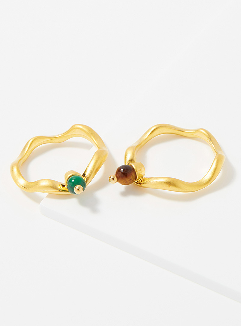 Simons Assorted gold Colourful stone rings  Set of 2 for women