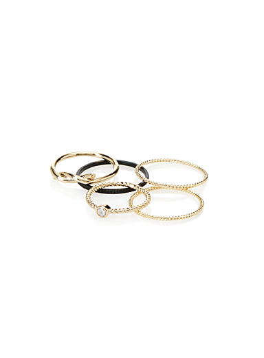 Mix-and-match metallic rings  Set of 5
