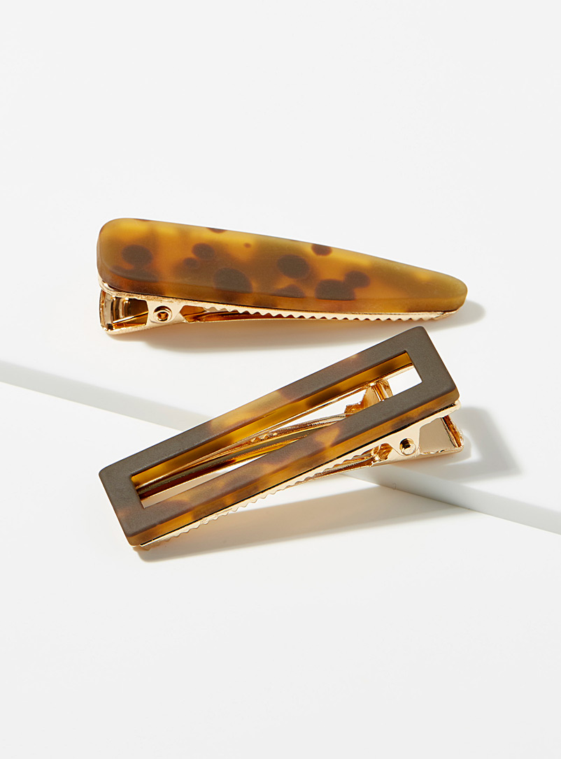 Simons Patterned Brown Amber tortoiseshell clips  Set of 2 for women