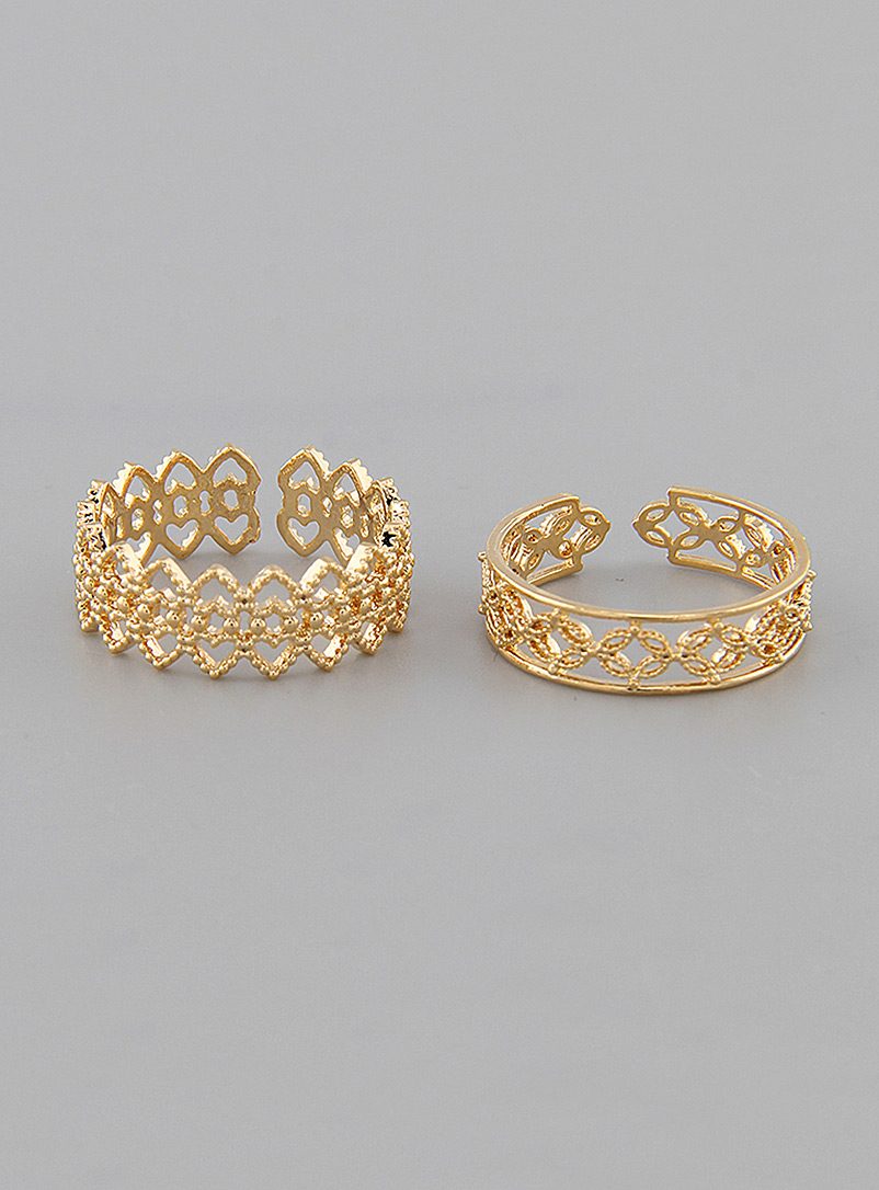 Simons Assorted Openwork rings  Set of 2 for women