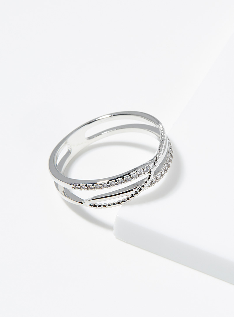 Simons Silver Sinuous band ring for women