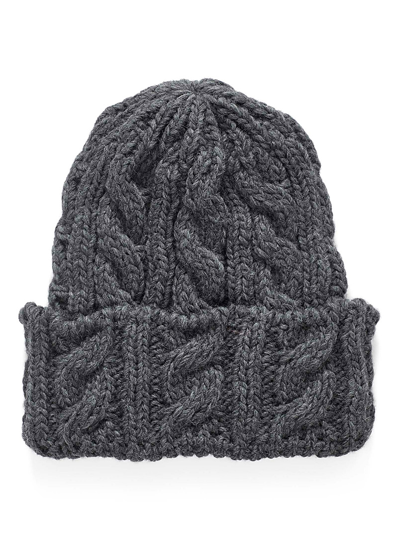 Le 31 Charcoal Twisted cable and rib tuque for men