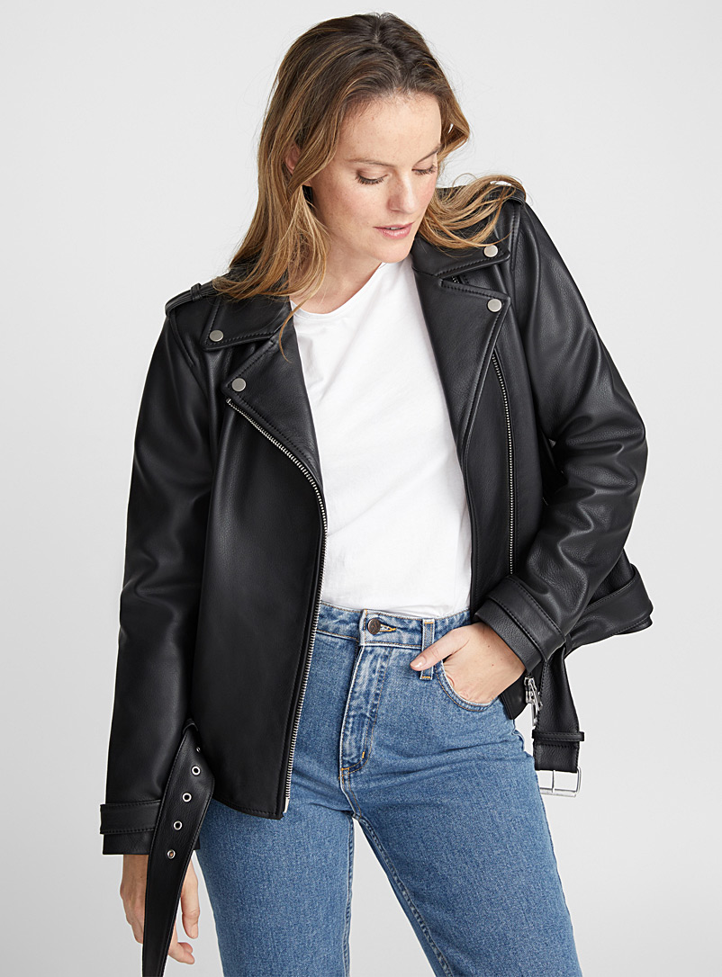 Oversized leather biker jacket - Jackets and Vests - Black