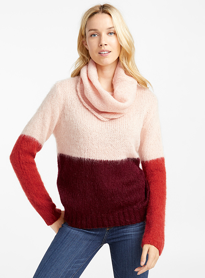 Le pull col tombant mohair blocs couleurs - Pulls - Rose