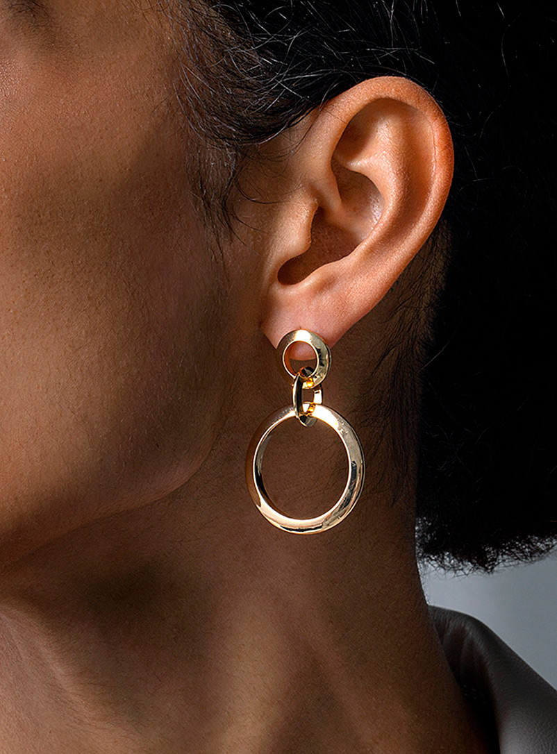 Three hoop earrings
