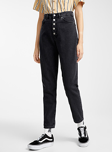 Nora buttoned black mom jean