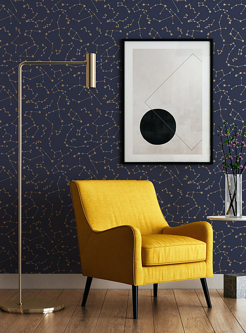 Constellations in a night sky self-adhesive wallpaper 28 square feet