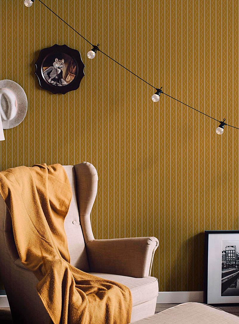 Turquoise Palace + Tempaper Patterned Yellow Golden zigzag self-adhesive wallpaper 28 square feet