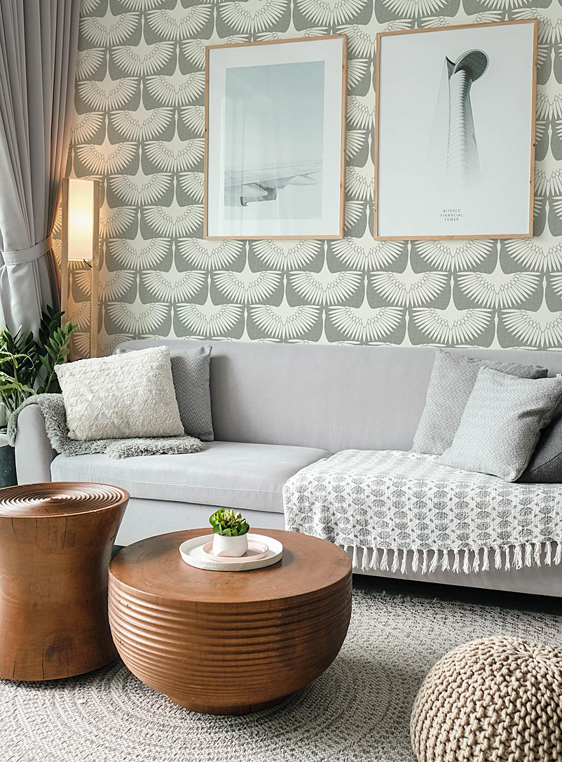 Turquoise Palace + Tempaper Assorted beige Feather flock self-adhesive wallpaper 5.25 square meters