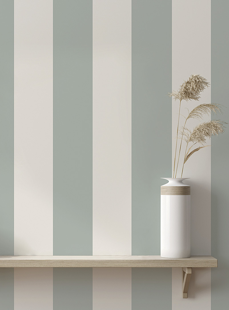 Turquoise Palace + Tempaper Assorted green  Seafoam stripe self-adhesive wallpaper 28 square feet