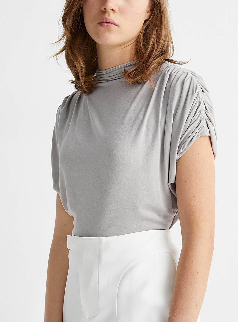 Vejas Grey Pleated shoulder top for women
