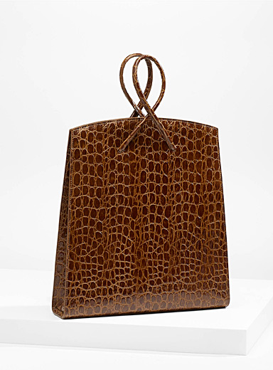 Twisted faux-croc tote
