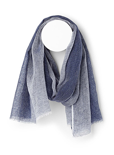 Thin-striped linen scarf