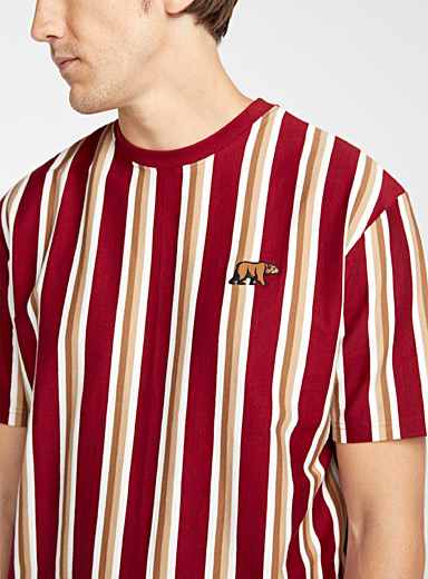 Djab Red Vertical stripe boxy T-shirt for men