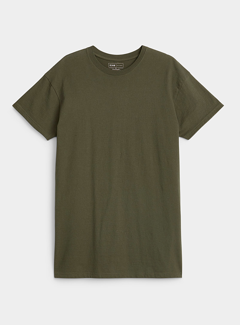 Djab Mossy Green Muscle fit longline T-shirt for men