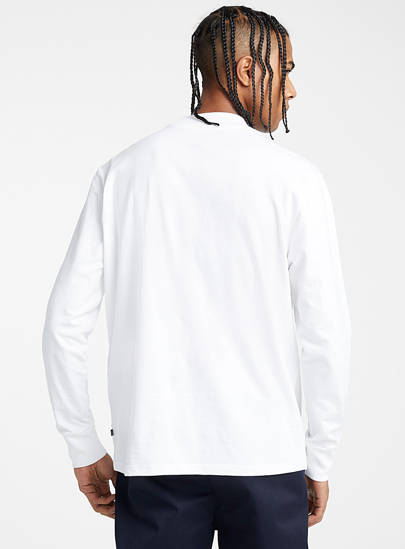 Djab White Organic cotton mock-neck T-shirt for men