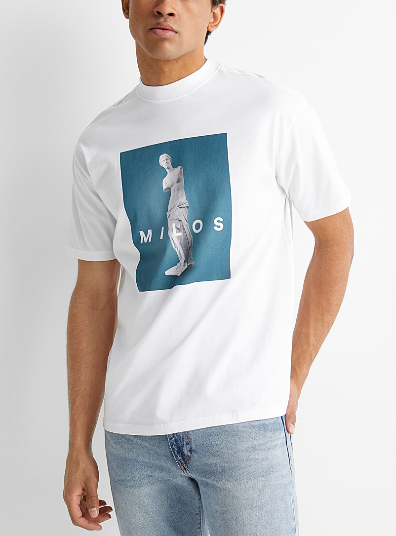 Le 31 White Artistic scene T-shirt for men