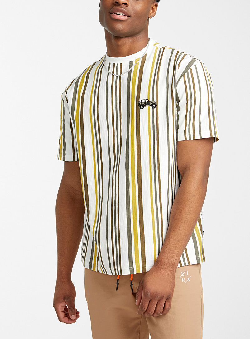 Djab White Embroidered-icon striped tee for men