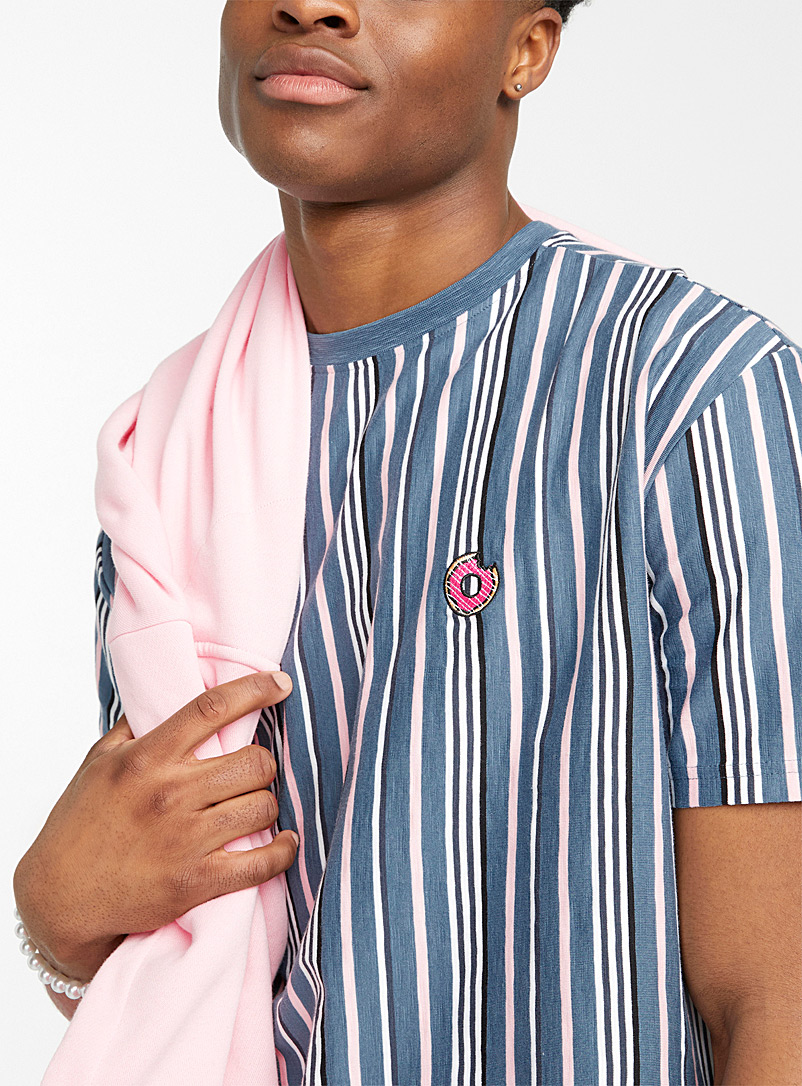 Djab Slate Blue Embroidered-icon striped tee for men