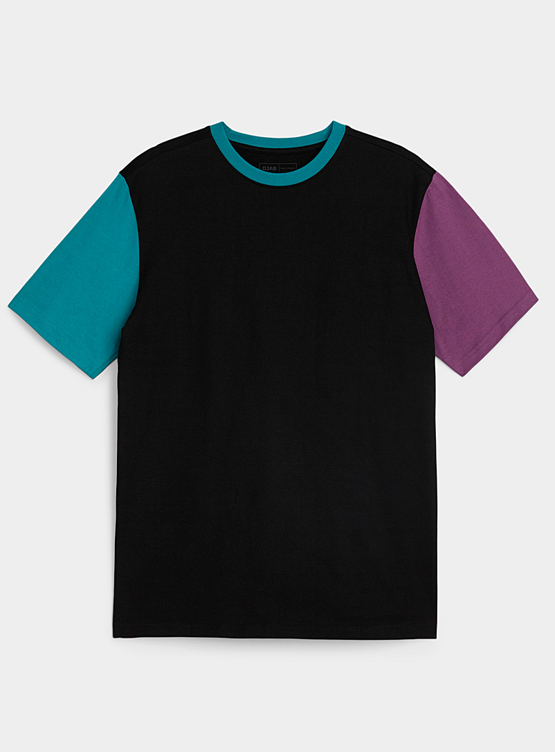 Djab Black Colour block-sleeve T-shirt for men
