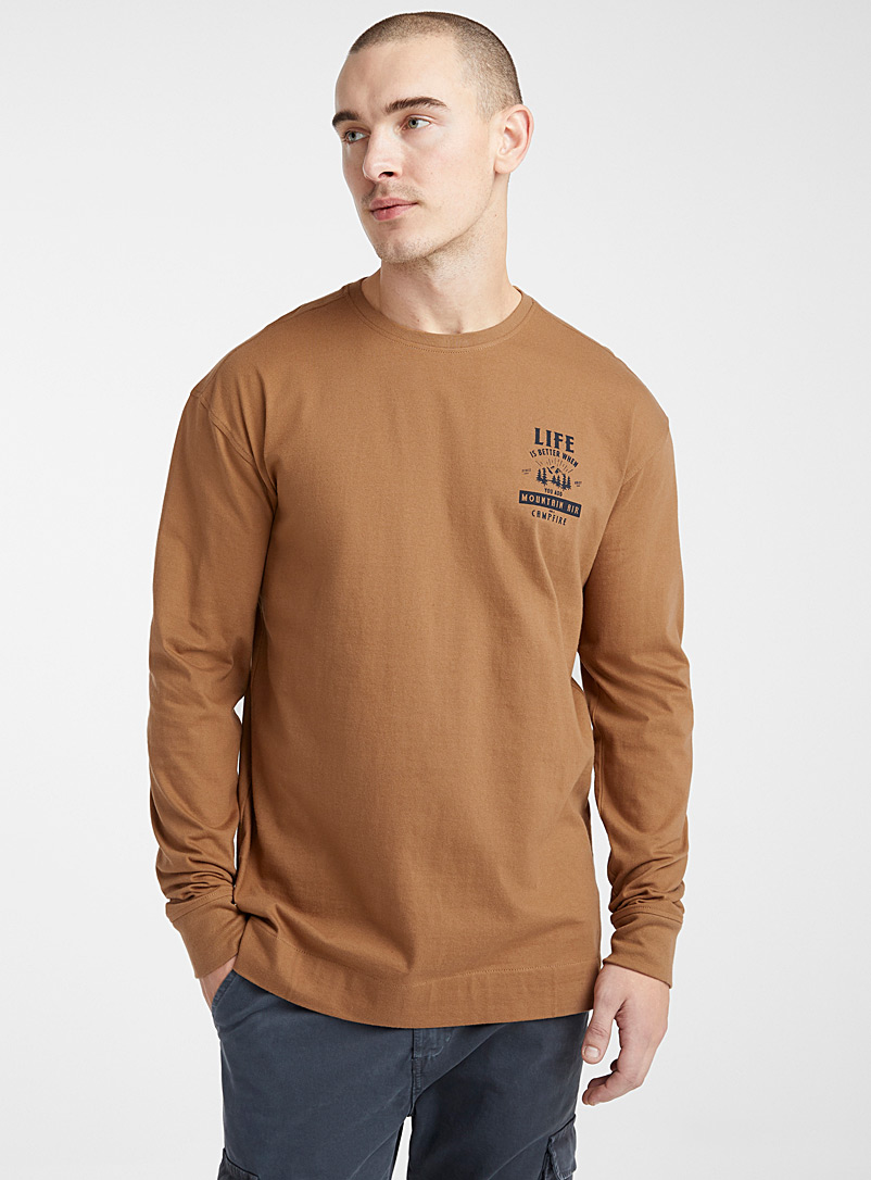 Le 31 Brown Double-sided print T-shirt for men