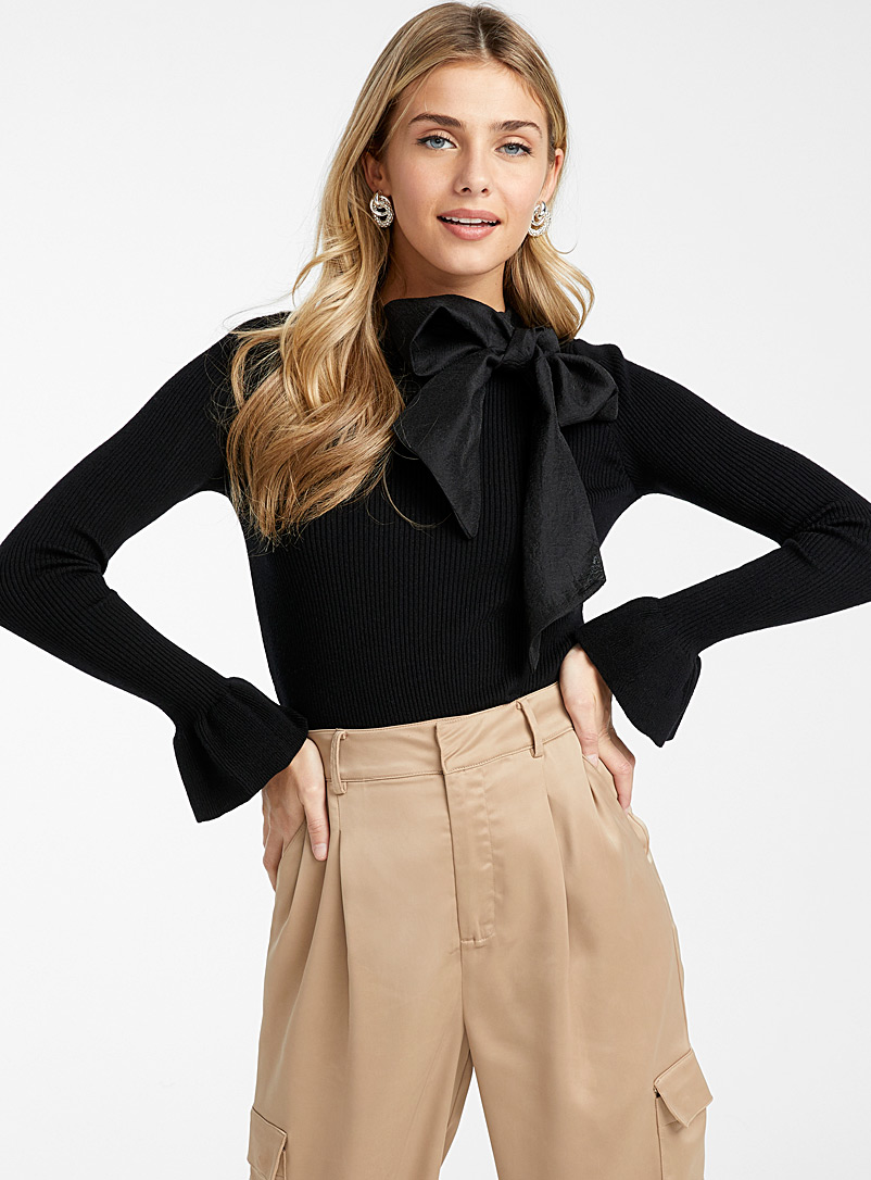 Icône Black Organza knot ribbed sweater for women