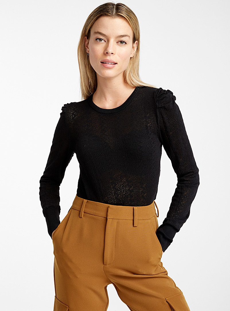 Icône Black Romantic pointelle sweater for women