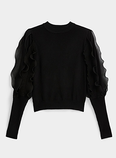 Icône Black Ruffled sleeve sweater for women