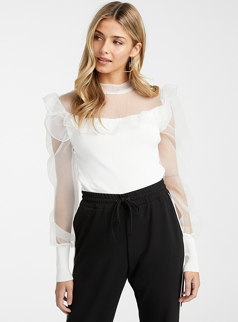 Ic?ne White Ruffled organza sweater for women