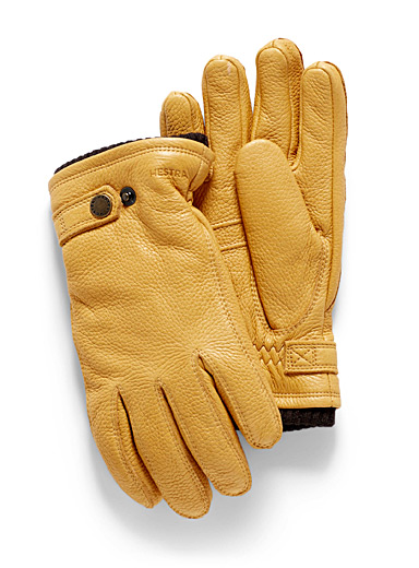 Lined grained leather gloves
