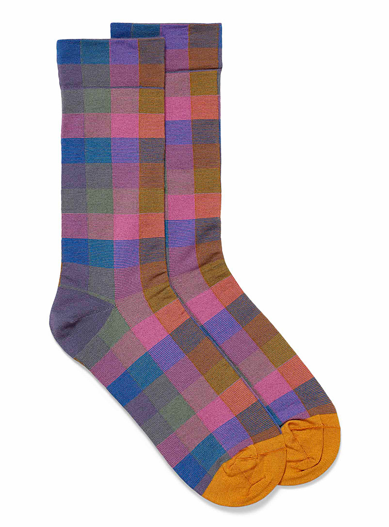 Bonne Maison Assorted blue  Pink accent check socks for women